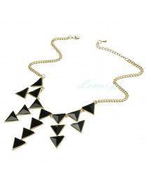 Złoty naszyjnik z czarnymi trójkątami
