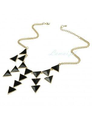 Złoty naszyjnik z czarnymi trójkątami 2