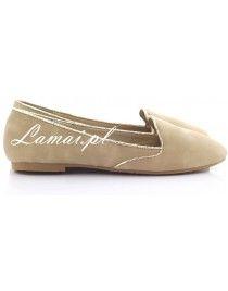 Lordsy, loafersy złota lamówka Khaki 860-8