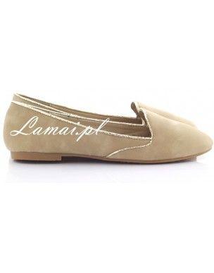 Lordsy, loafersy złota lamówka Khaki 860-8 2