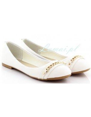 Balerinki złoty ŁAŃCUCH Baletki Łańcuchy Białe 2