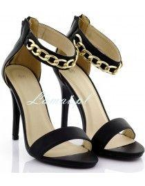 Łańcuchy, sandały damskie, buty na sylwestra - obcasie, Łańcuch