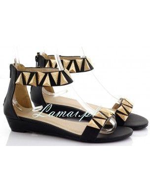 Czarne Sandały damskie wzory etno, buty na lato złote trójkąty 2