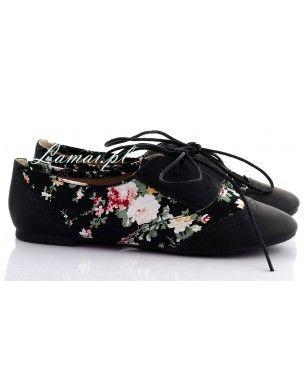 Czarne tenisówki w kwiatki T-6 2