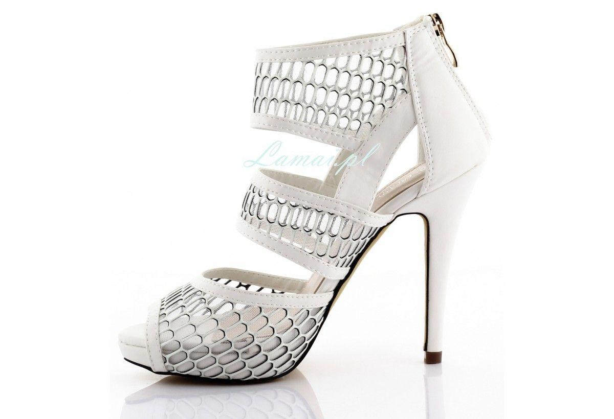 b4e8f489 Białe buty szpilki w siateczkę botki B-11 - Sklep Lamai.pl