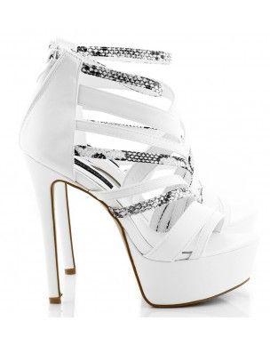 Białe sandały na platformie szpilki black & white SNAKE S-17 2