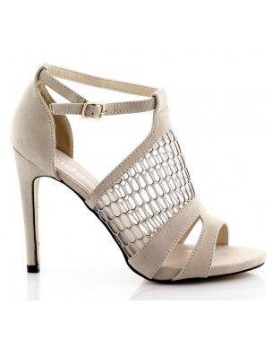 Beżowe, zamszowe sandały siateczka na szpilce S-10 2