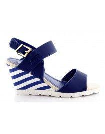 Niebieskie sandały w paski na koturnie S-12