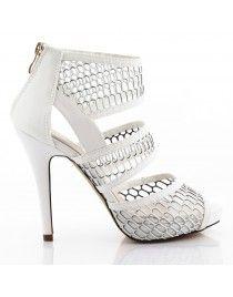 Białe buty szpilki w siateczkę botki B-11