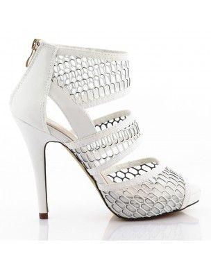 Białe buty szpilki w siateczkę botki B-11 2