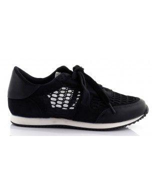 Czarne buty sportowe z siateczką T-5 2