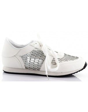 Białe obuwie sportowe z siateczką T-9 2