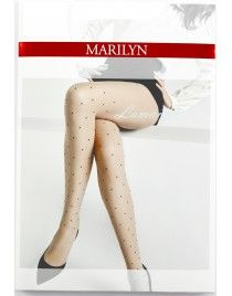 Rajstopy Allure I02 rajstopy beżowe w czarne groszki Marilyn