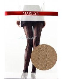 Beżowe rajstopy ze szwm z tyłu Marilyn Nadia I05