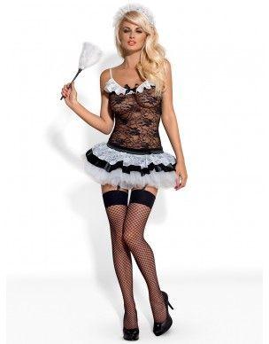 Strój pokojówki Housemaid kostium 5-częściowy Obsessive 2