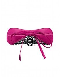 Różowa maska na oczy Satinia czarna koronka Obsessive