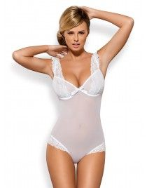 Białe body Julitta delikatne body z falbanką Obsessive