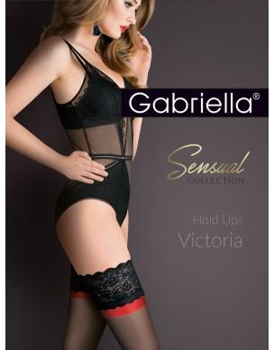 Victoria 474 PLUS SIZE 5/6 Gabriella pończochy z czerwonym akcentem 2