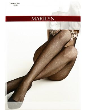 Charly M04 MARILYN rajstopy kabaretki - żakardowe w kropeczki 2