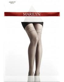 Desire M03 MARILYN rajstopy szare z imitacją koronki pończoch