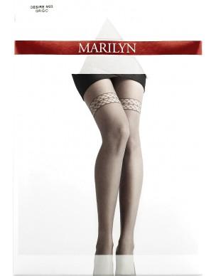 Desire M03 MARILYN rajstopy szare z imitacją koronki pończoch 2