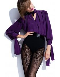 Purple Rain Knittex NOA rajstopy kabaretki w kropki i z koronkowym wzorem