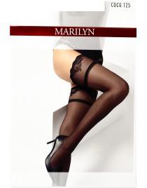 Coco T25 Marilyn czarne pończochy z ozdobną koronką