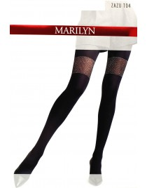 Zazu T04 Marilyn rajstopy ze srebrną nitką jak pończochy