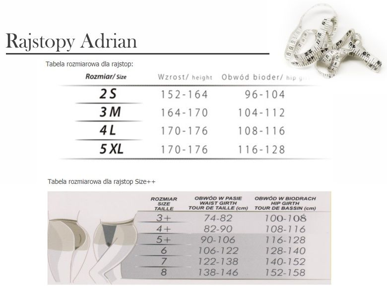rozmiary rajstop Adrian -tabela