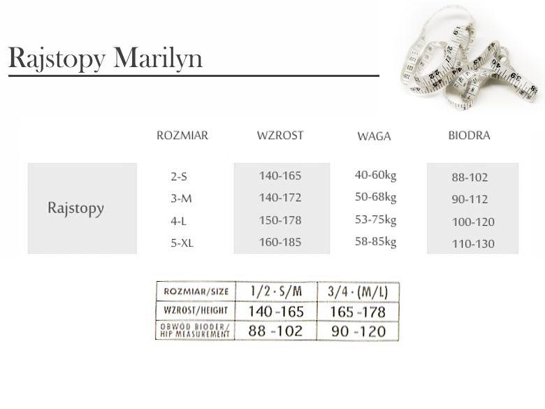 rozmiary rajstop Marilyn -tabela
